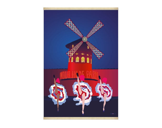 Poster 30X40 Paris mill by night of didouch