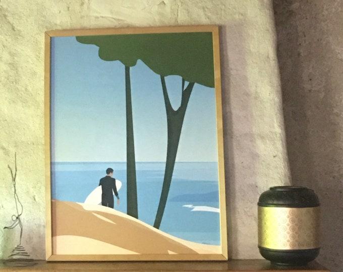"Ocean surfer poster ""Didouch rider"" Active art print"