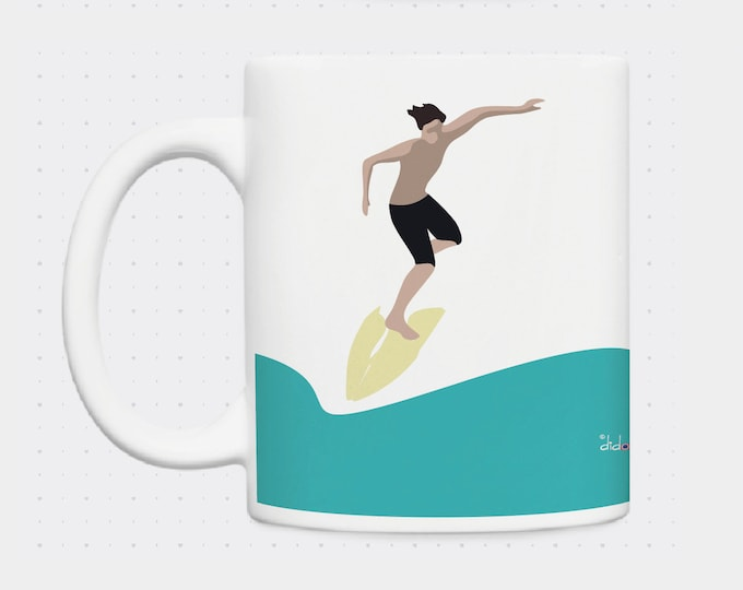 Mug Surfer brown blond illustration didouch