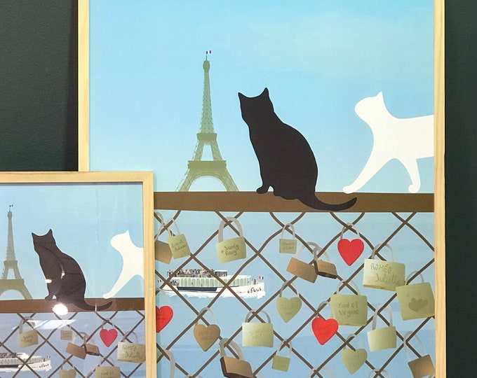 POSTER 2 formats on paper for decoration the cats of the bridge of the arts of didouch