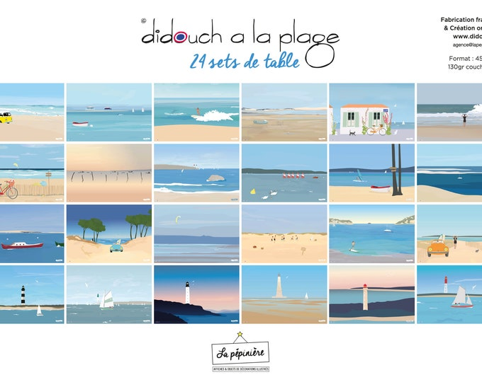 Notebook of 24 seaside placemats illustrated by didouch