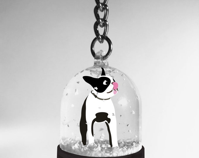 Snowball key ring Boston Terrier didouch dog