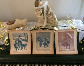 Winter Victorian Storybook Illustrations. set of 3. Tattered and beautiful. Portions of stories on backs.