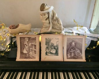Victorian Storybook Illustrations. set of 3. Girls at play. Tattered and beautiful. Portions of stories on backs.