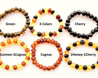 Lemon RAW Natural Baltic Amber Chip Bead Jewelry Baby Adult Bracelet ELASTIC Anklet SIZE 11-25cm Teething Girl Boy Gift Adult