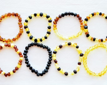 Natural Beaded baltic amber bracelet 11-27cm