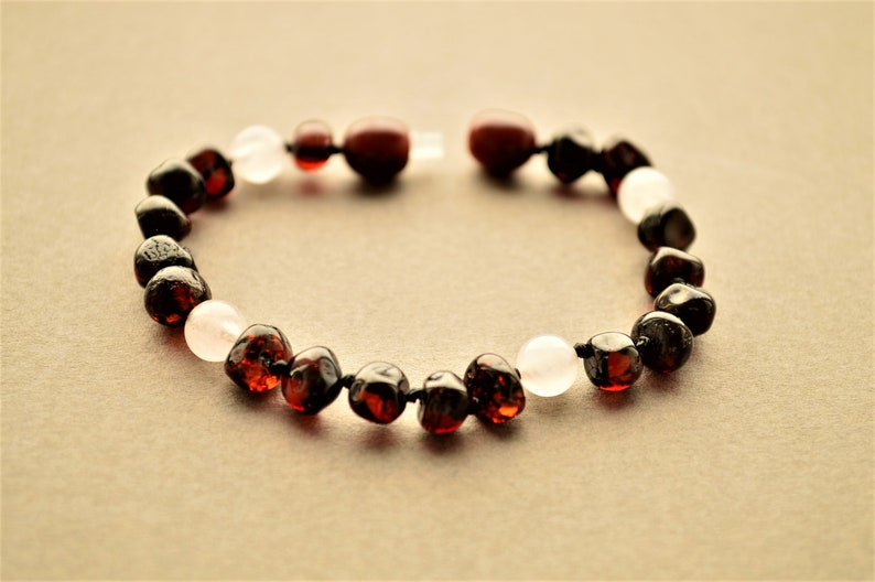 Cherry Amber Anklet Baby Pink Safe Knotted Baltic Amber Bracelet for Baby Amber Teething Baby Bracelet With Rose Quartz