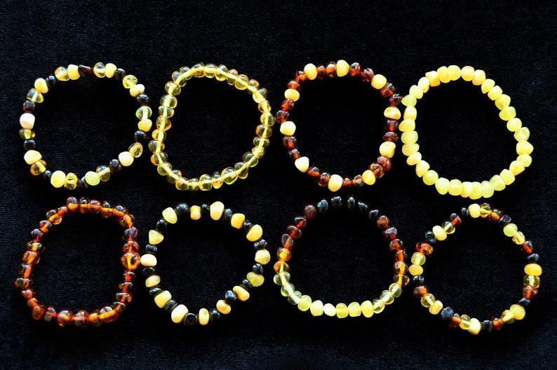 1Yolk-2Cognac Natural Baltic Amber Baroque Bread Jewelry Baby Adult Bracelet Elastic Anklet SIZE 11-25cm Teething Boy Girl Gift Adult