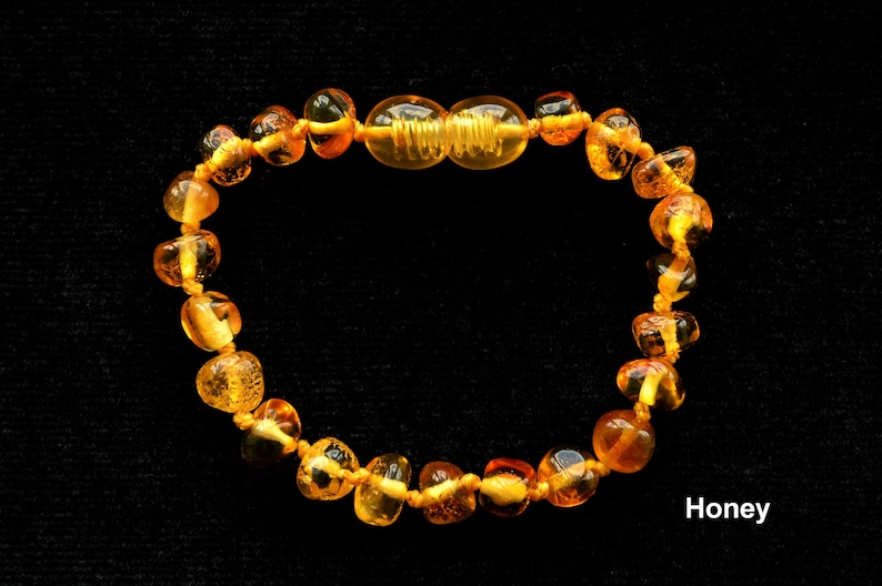 Honey Polished Natural Baltic Amber Baroque Bread Jewelry Baby Adult Bracelet Safe Knotted Anklet SIZE 11-25cm Teething Girl Gift Adult
