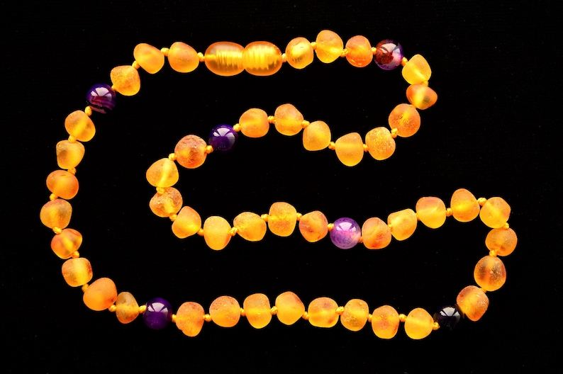 Amber Teething Necklace with Agate 28-40 Cm Purple Agate Baby Raw Amber Necklace Honey