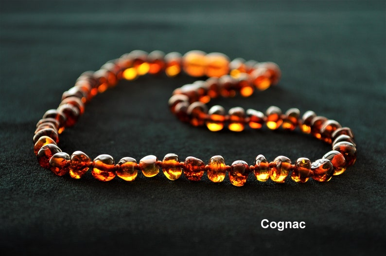 ADULT Natural Baltic Amber Necklace 40-70 cm. Made of Polished Cognac