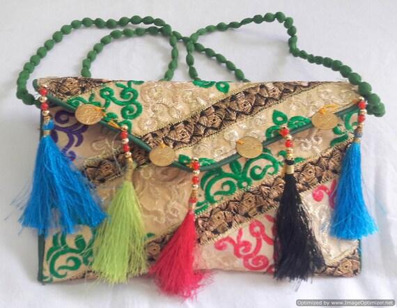 Women Clutch Bag Evening Bridal Wedding Party Purse Ethnic Ladies green pompom
