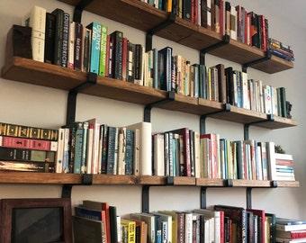 Rustic Bookcase Fixer Upper Farmhouse Floating Shelf, Flat Steel Industrial Shelf Bracket, Modern Blacksmith Farmhouse Decor, Easy Mount
