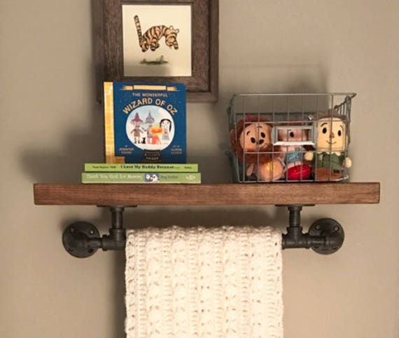 Rustic Industrial Floating Shelf with Towel Bar 8 deep | Etsy