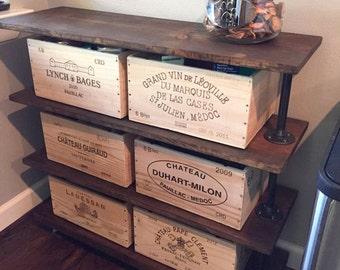 "Farmhouse Four Shelf Rolling Cart, 48"" Rustic Wood Shelving Unit, Kitchen Storage, Bar cart or Bookcase, Retail Fixture, Clothes Bin"
