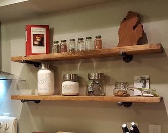 Extra Long Industrial Rustic Kitchen Floating Shelf, Farmhouse Shelf, Pipe Brackets, Kitchen & Bathroom Shelf, Industrial Floating Shelf