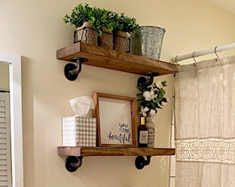 rustic shelves for bathroom