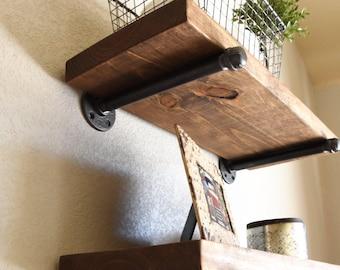 "Farmhouse 11 1/4"" deep Floating Shelf, Industrial Rustic Shelf, Hanging Pipe Shelf, Kitchen and Bathroom Shelf, Open Laundry Shelves"