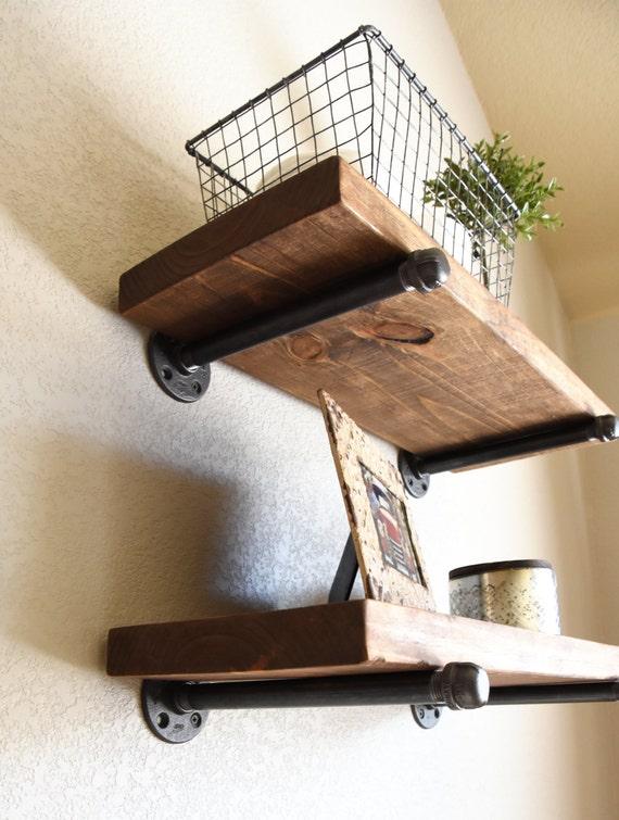 Rustic Floating Shelf, Floating shelf, Farmhouse Decor, Pipe Shelf,  Bathroom Shelves, Kitchen shelve Living Room Decor, Coffee Bar Shelf