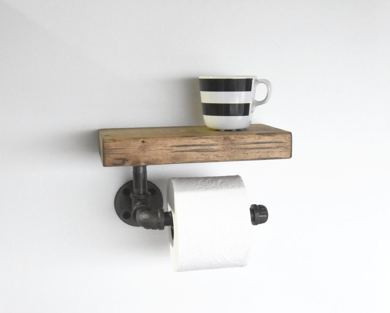 Toilet Paper Holder : Industrial pipe toilet paper holder with rustic shelf etsy