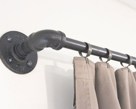 Industrial Pipe Window Curtain Rod, Rustic Curtain Rod Ends