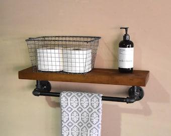 Bathroom Floating Shelve & Towel Rack, Industrial Floating Shelf with Towel Bar, Rustic Floating Shelf, Rustic Bathroom Shelf, Towel Grab