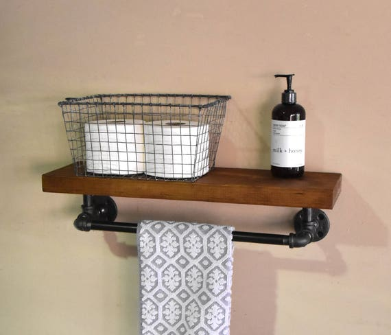 Bathroom Floating Shelve U0026 Towel Rack Industrial Floating | Etsy