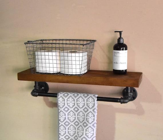 Bathroom Floating Shelve & Towel Rack Industrial Floating | Etsy