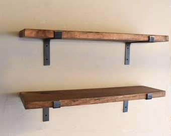 Rustic Fixer Upper Farmhouse Decor Shelf, Flat Steel Bracket Industrial Shelf, Rustic Floating Shelve, Modern Farmhouse Shelve. Kitchen,