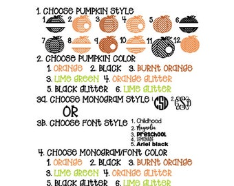 Create your own monogrammed personalized Halloween Fall Pumpkin shirt