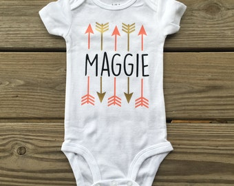 Girl's arrow Personalized bodysuit with name