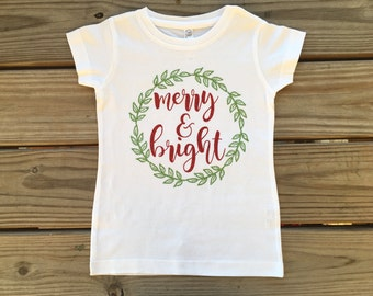 Girl's Merry and Bright Christmas Shirt
