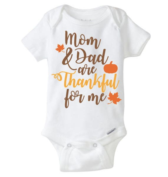 Mom and Dad are Thankful for me Thanksgiving bodysuit shirt  fa0935ea8