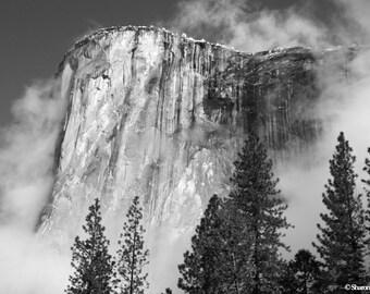 Yosemite Photography El Capitan Photo Fog Black And White  Photography Yosemite National Park Print Foggy Mountain Photography Rustic Cabin