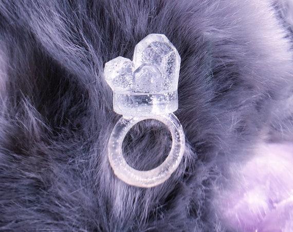 Small clear quartz crystal resin ring