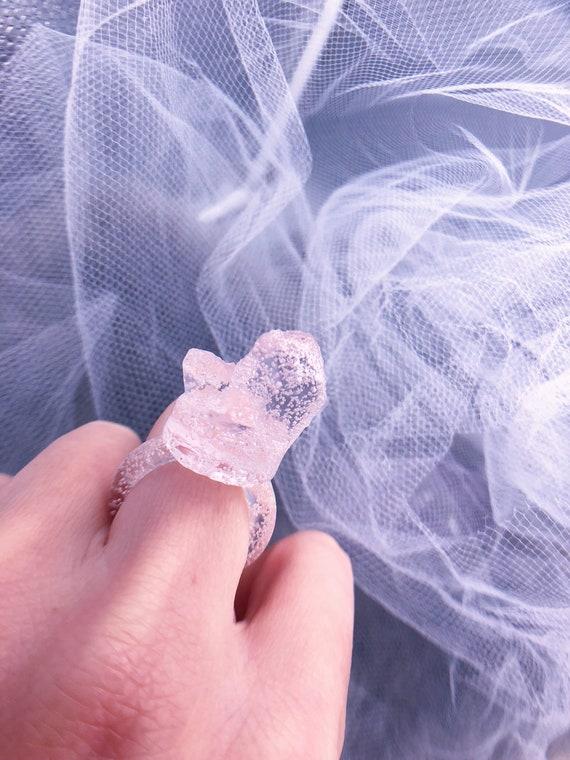 tiny rose quartz crystal ring