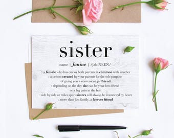 Personalized Sister Card Custom Birthday Big Greeting Just Because Little Wedding Best Friend