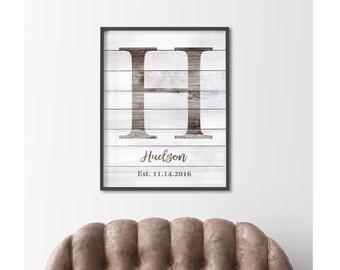 Family Established Sign, Name Initial Print, Housewarming Gift, Custom Family Name Sign, Personalized Wedding Gift, Farmhouse DIGITAL PRINT
