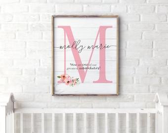 Inspirational Kids Room Decor, Personalized Baby Gift, Girl Nursery Decor,  Floral Nursery Name Sign, Custom Quote Print, Christian Nursery