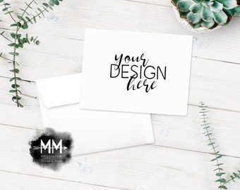 Note card mockup etsy rustic greeting card mockup wooden background white envelope product mockup styled invite photography your design here digital downlaod reheart Images
