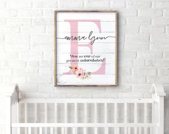 Inspirational Kids Room Decor, Personalized Baby Gift, Girl Nursery Decor, Floral Nursery Name Sign, Custom Quote Print, Christian Nursery