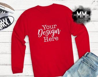 Red T Shirt Mockup Red Shirt Flat Lay Display Long Sleeve Red