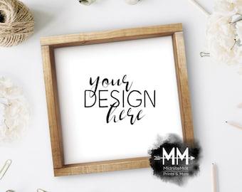 Download Free Styled Frame Mockup, Wood Frame Mockup, Styled Stock Photography, Blank Frame Stock Photo, Box Frame Mockup Add Your Design Digital Download PSD Template