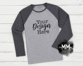 Download Free Gray Raglan with Black Sleeves Mockup, Raglan Shirt Display, Styled Apparel Display, Boy Shirt, Gray Black Raglan Mockup Instant Download PSD Template