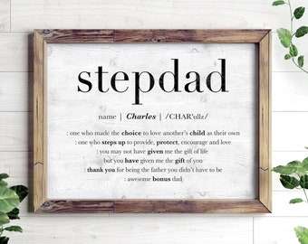 personalized fathers day gift for stepdad stepdad printable gift custom name sign for step dad stepfather encouragement print bonus dad