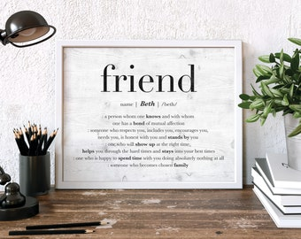 Best Friend Gift Personalized For Friendship Print Idea Birthday Quote BFF