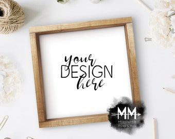 Styled Frame Mockup, Wood Frame Mockup, Styled Stock Photography, Blank Frame Stock Photo, Box Frame Mockup Add Your Design Digital Download
