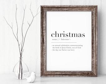Christmas Definition Print Christian Holiday Decor Art Jesus Savior Christmas Christian Wall Art Religious Holiday Fatih Sign Printable Gift