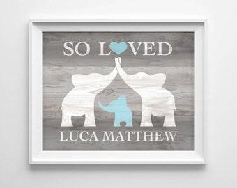 Elephant Nursery Art, Custom Baby Name Wall Art, Elephant Baby Shower Gift, Nursery Name Sign Personalized Baby Boy Nursery, DIGITAL PRINT