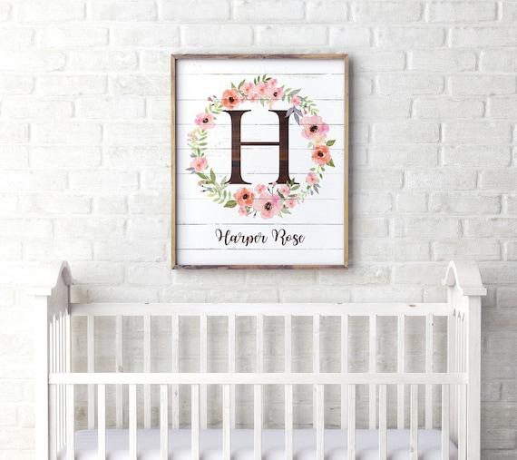 e1769ee642a14 Personalized Nursery Wall Art, Rustic Floral Nursery Decor, Girl Nursery  Decor, Boho Nursery Name Sign, Boho Kids Room Decor, Watercolor
